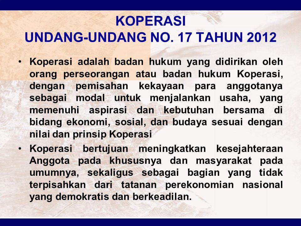 KOPERASI UNDANG-UNDANG NO. 17 TAHUN 2012 Koperasi adalah badan hukum yang didirikan oleh orang perseorangan atau badan hukum Koperasi, dengan pemisaha