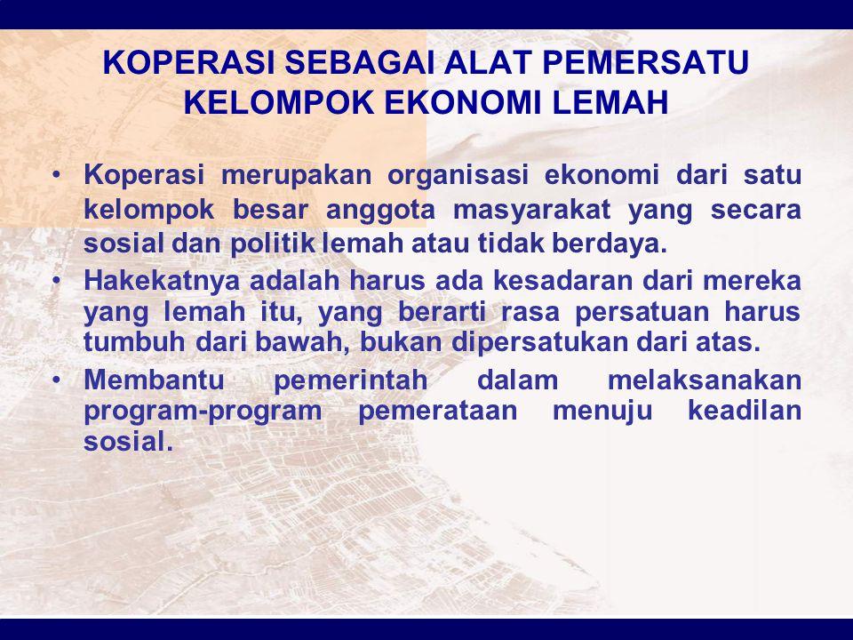 KOPERASI SEBAGAI ALAT PEMERSATU KELOMPOK EKONOMI LEMAH Koperasi merupakan organisasi ekonomi dari satu kelompok besar anggota masyarakat yang secara s