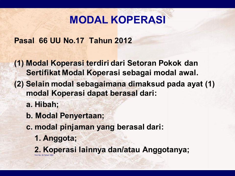 MODAL KOPERASI Pasal 66 UU No.17 Tahun 2012 (1) Modal Koperasi terdiri dari Setoran Pokok dan Sertifikat Modal Koperasi sebagai modal awal. (2) Selain