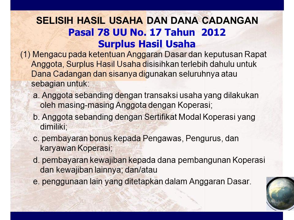 SELISIH HASIL USAHA DAN DANA CADANGAN Pasal 78 UU No. 17 Tahun 2012 Surplus Hasil Usaha (1) Mengacu pada ketentuan Anggaran Dasar dan keputusan Rapat
