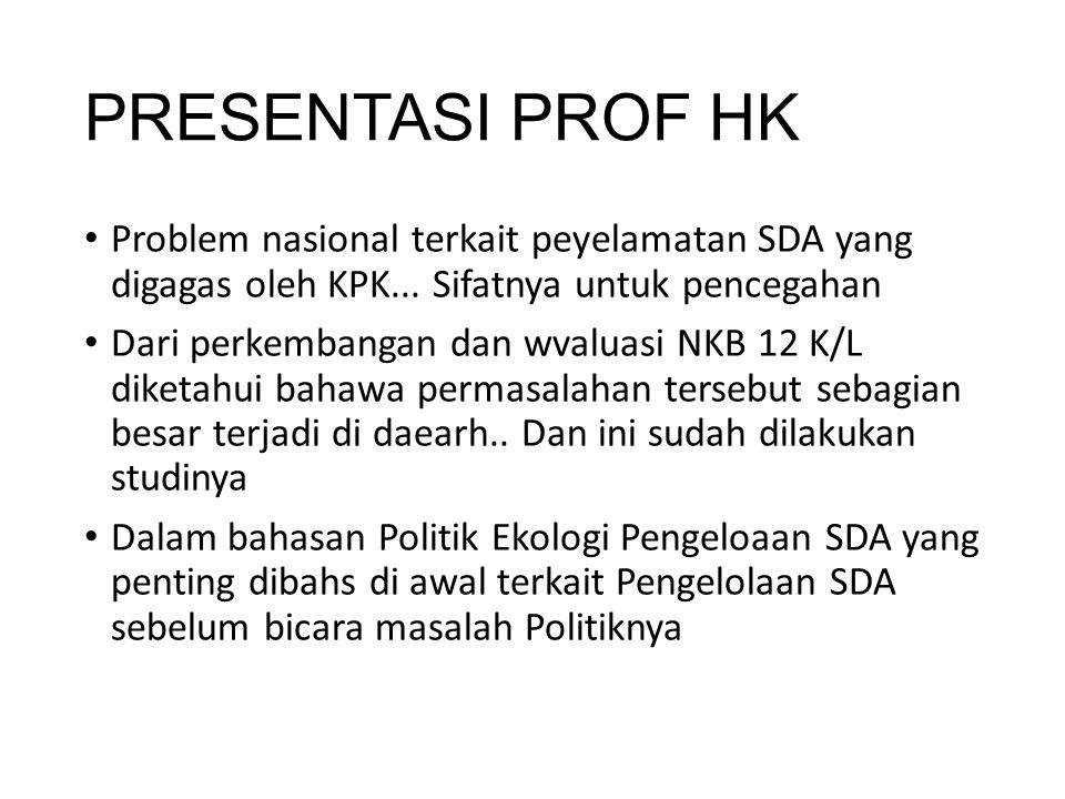 PRESENTASI PROF HK Problem nasional terkait peyelamatan SDA yang digagas oleh KPK... Sifatnya untuk pencegahan Dari perkembangan dan wvaluasi NKB 12 K
