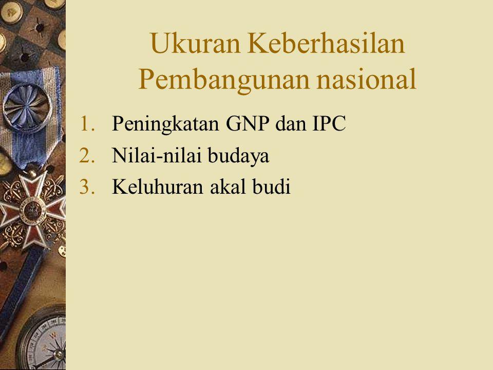 Ukuran Keberhasilan Pembangunan nasional 1.Peningkatan GNP dan IPC 2.Nilai-nilai budaya 3.Keluhuran akal budi