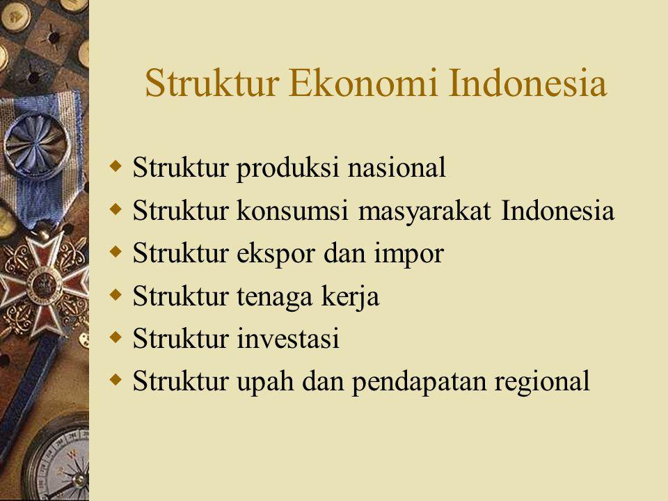 Struktur Ekonomi Indonesia  Struktur produksi nasional  Struktur konsumsi masyarakat Indonesia  Struktur ekspor dan impor  Struktur tenaga kerja 