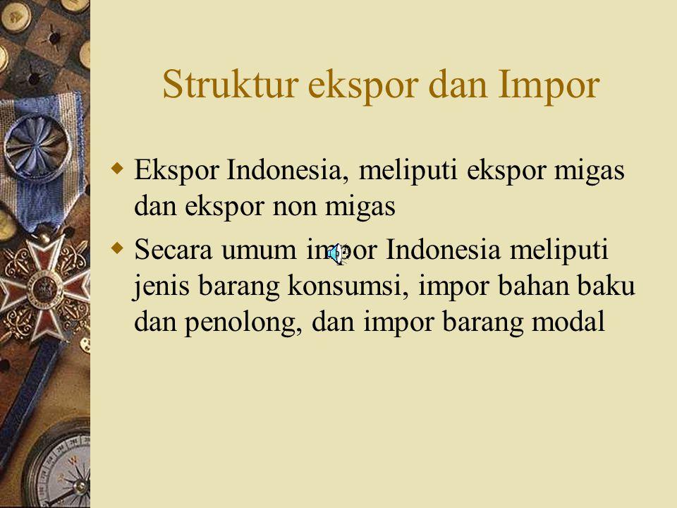 Struktur ekspor dan Impor  Ekspor Indonesia, meliputi ekspor migas dan ekspor non migas  Secara umum impor Indonesia meliputi jenis barang konsumsi,