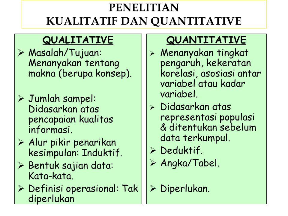 PENELITIAN KUALITATIF DAN QUANTITATIVE QUALITATIVE  Dari segi perspektifnya: Menggunakan pendekatan emik.  Dari konsep dan teori: Mengembangkan, men