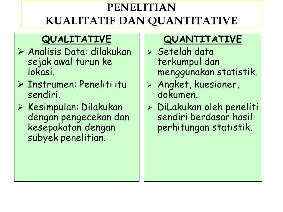 PENELITIAN KUALITATIF DAN QUANTITATIVE QUALITATIVE  Masalah/Tujuan: Menanyakan tentang makna (berupa konsep).  Jumlah sampel: Didasarkan atas pencap