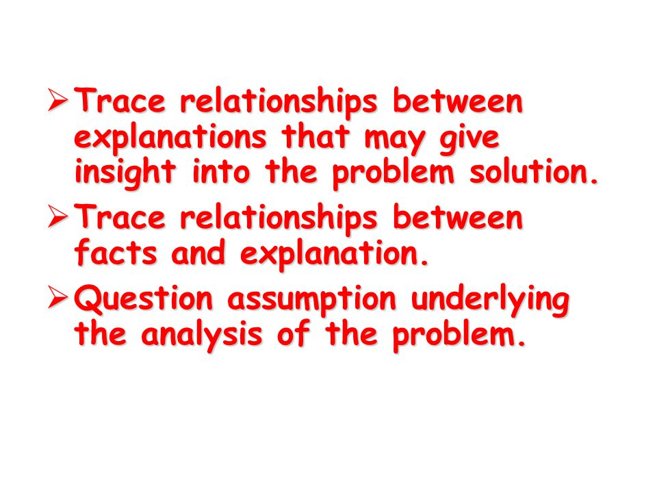  Trace any relationship between the facts that might reveal the key to the difficulty.