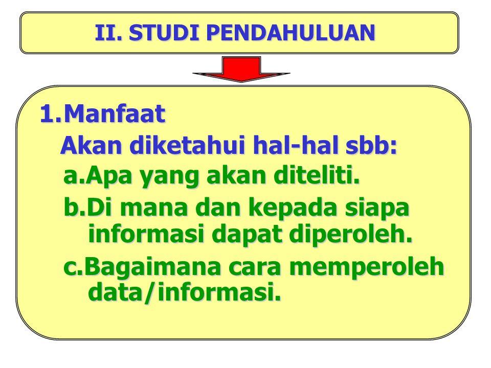 2. Mempunyai fisibilitas (dapat dilaksanakan) : a.Data serta metode untuk memecahkan masalah tersedia. b.Cukup waktu, tenaga dan biaya untuk memecahka