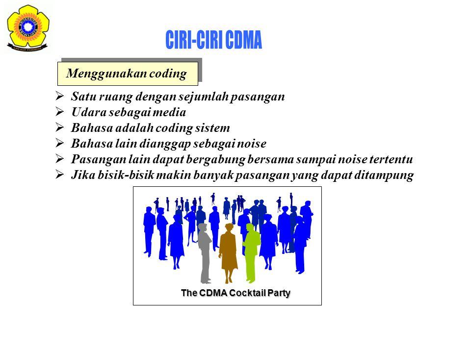 The CDMA Cocktail Party  Satu ruang dengan sejumlah pasangan  Udara sebagai media  Bahasa adalah coding sistem  Bahasa lain dianggap sebagai noise  Pasangan lain dapat bergabung bersama sampai noise tertentu  Jika bisik-bisik makin banyak pasangan yang dapat ditampung Menggunakan coding
