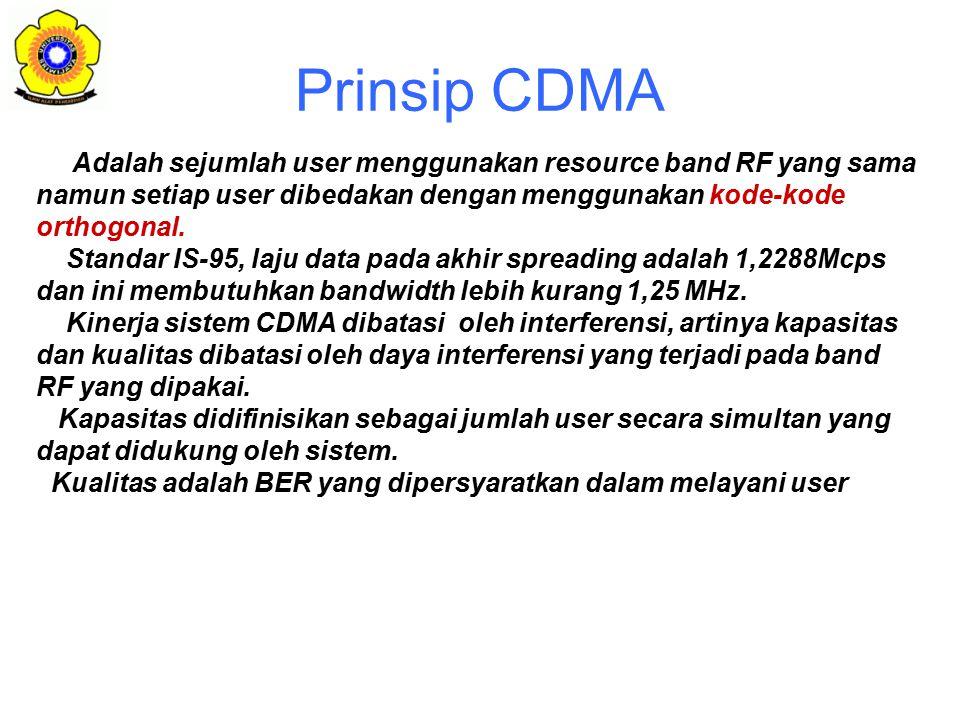 Prinsip CDMA Adalah sejumlah user menggunakan resource band RF yang sama namun setiap user dibedakan dengan menggunakan kode-kode orthogonal.