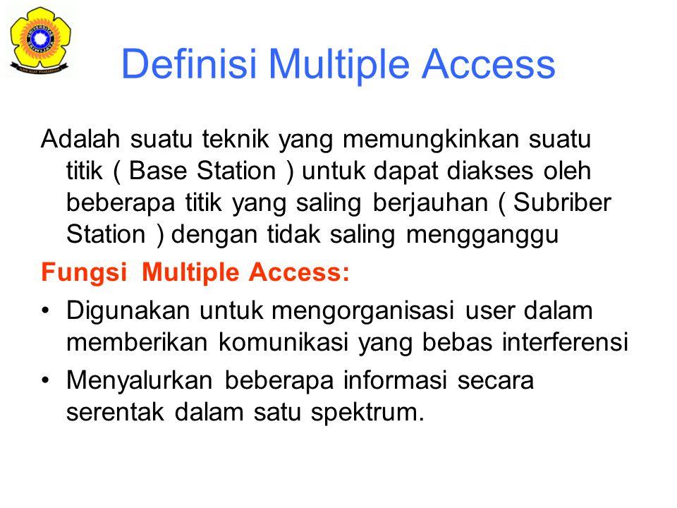 Definisi Multiple Access Adalah suatu teknik yang memungkinkan suatu titik ( Base Station ) untuk dapat diakses oleh beberapa titik yang saling berjauhan ( Subriber Station ) dengan tidak saling mengganggu Fungsi Multiple Access: Digunakan untuk mengorganisasi user dalam memberikan komunikasi yang bebas interferensi Menyalurkan beberapa informasi secara serentak dalam satu spektrum.