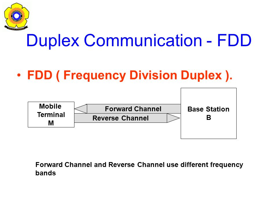 Duplex Communication - FDD FDD ( Frequency Division Duplex ).