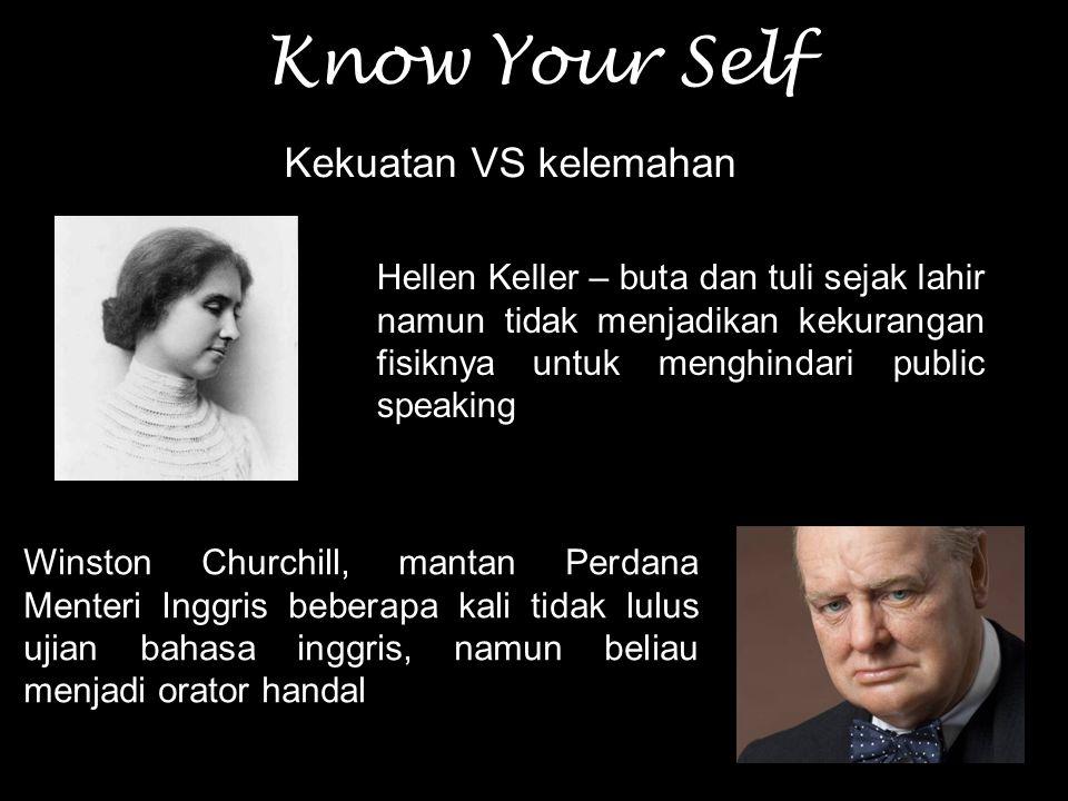 Know Your Self Kekuatan VS kelemahan Hellen Keller – buta dan tuli sejak lahir namun tidak menjadikan kekurangan fisiknya untuk menghindari public spe