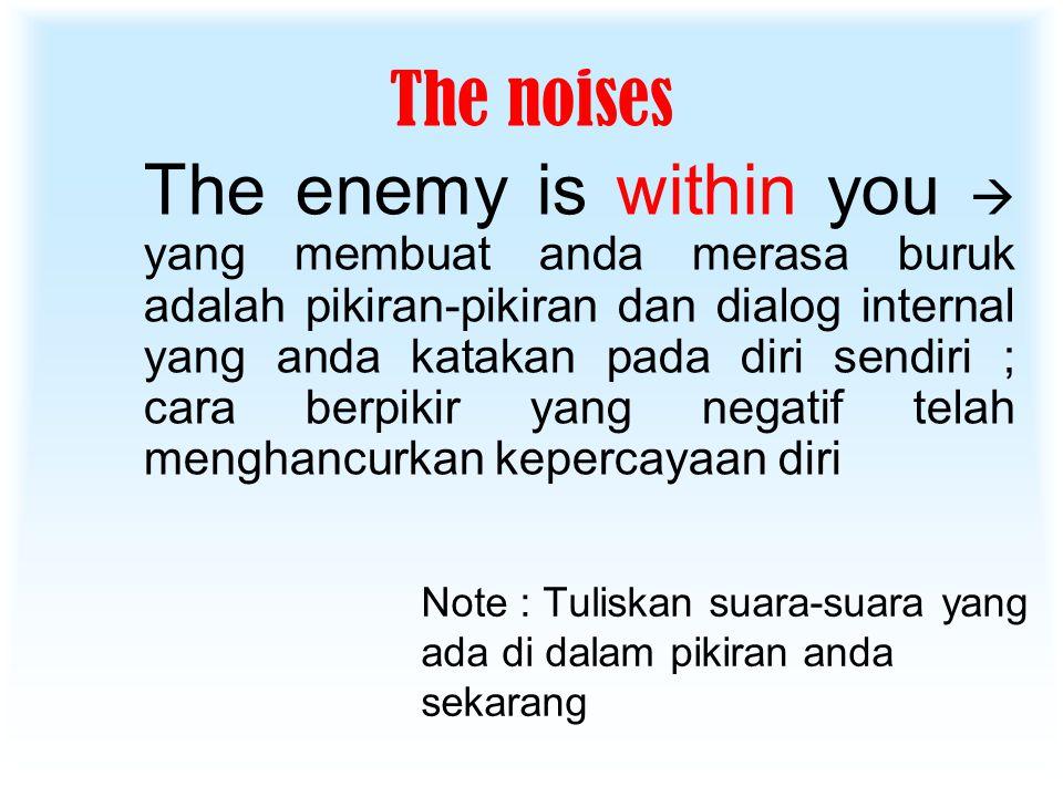 The noises Note : Tuliskan suara-suara yang ada di dalam pikiran anda sekarang The enemy is within you  yang membuat anda merasa buruk adalah pikiran