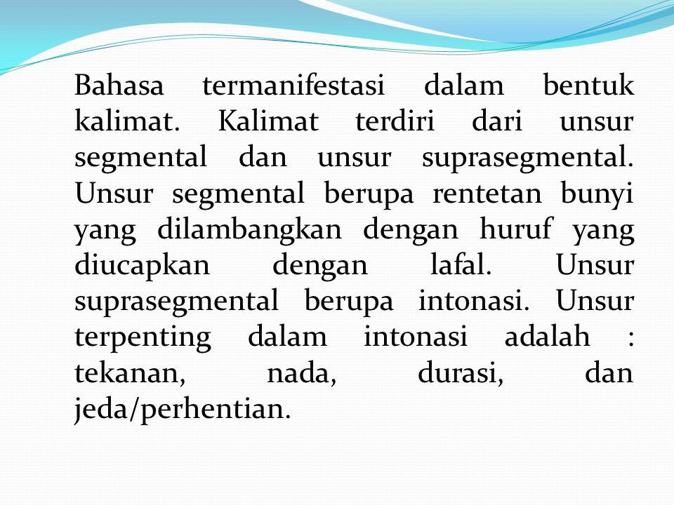 Bahasa termanifestasi dalam bentuk kalimat.