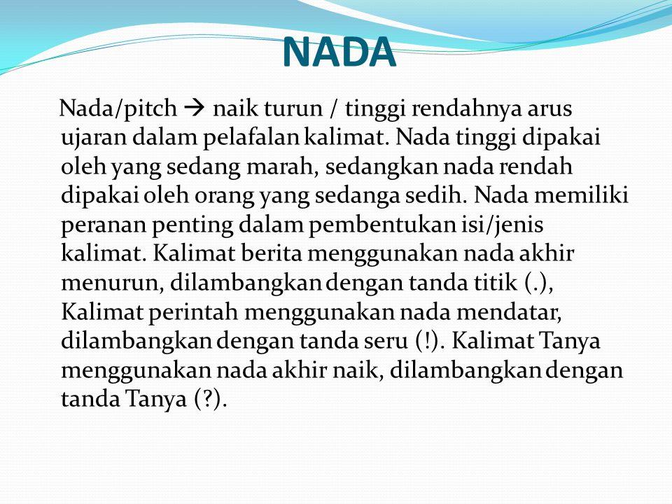 NADA Nada/pitch  naik turun / tinggi rendahnya arus ujaran dalam pelafalan kalimat.