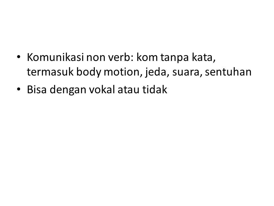 Komunikasi non verb: kom tanpa kata, termasuk body motion, jeda, suara, sentuhan Bisa dengan vokal atau tidak