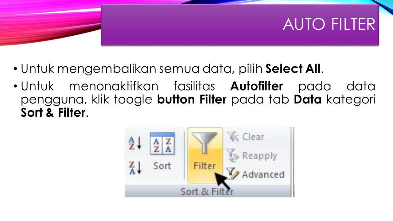 Untuk mengembalikan semua data, pilih Select All. Untuk menonaktifkan fasilitas Autofilter pada data pengguna, klik toogle button Filter pada tab Data