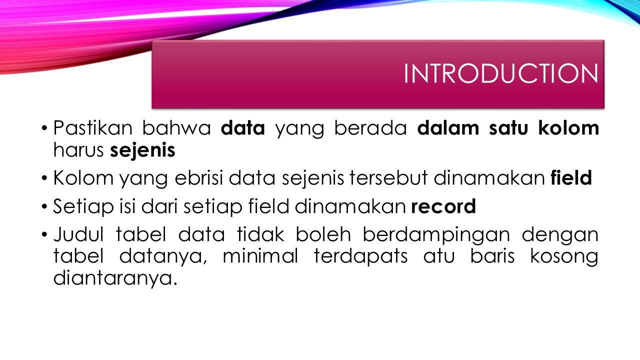 INTRODUCTION Pastikan bahwa data yang berada dalam satu kolom harus sejenis Kolom yang ebrisi data sejenis tersebut dinamakan field Setiap isi dari se