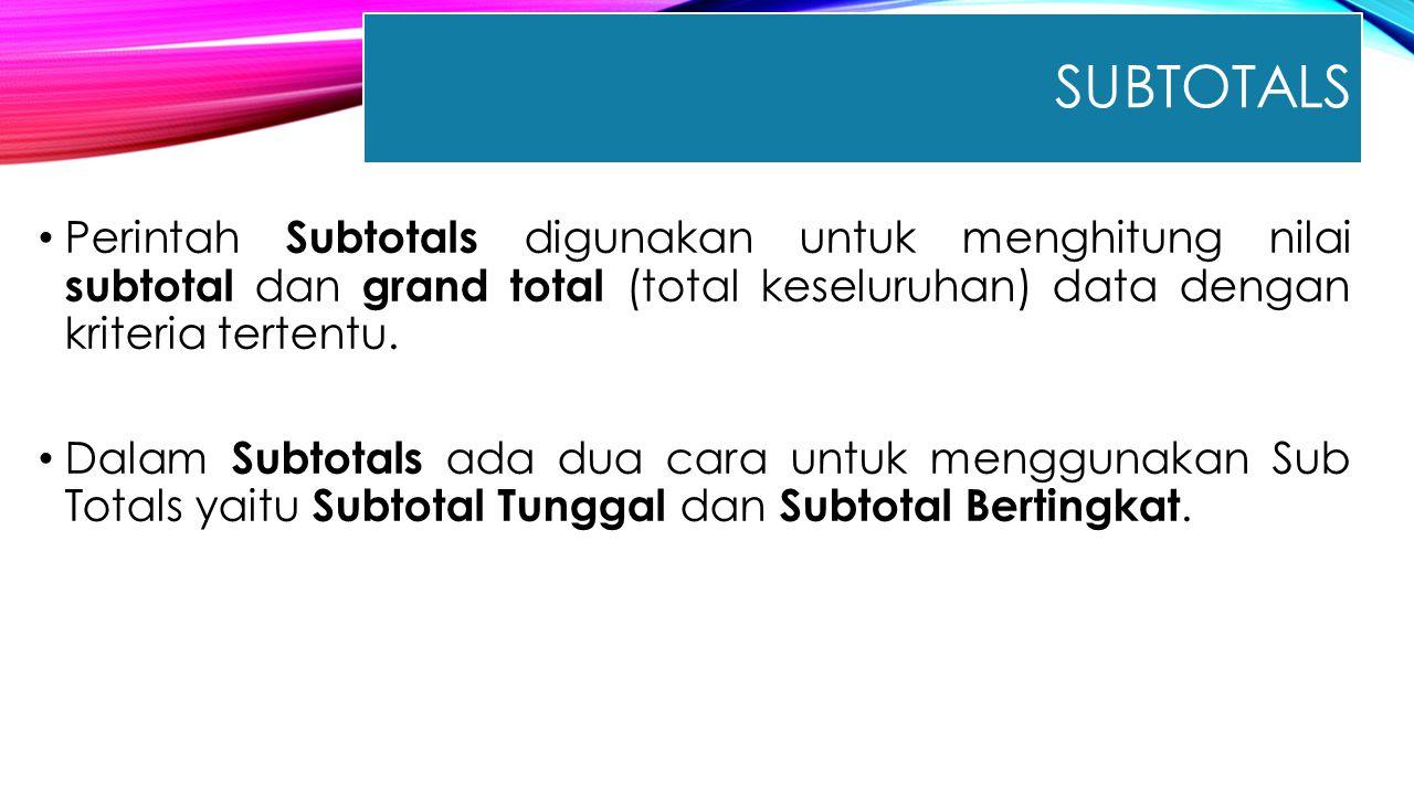 SUBTOTALS Perintah Subtotals digunakan untuk menghitung nilai subtotal dan grand total (total keseluruhan) data dengan kriteria tertentu. Dalam Subtot