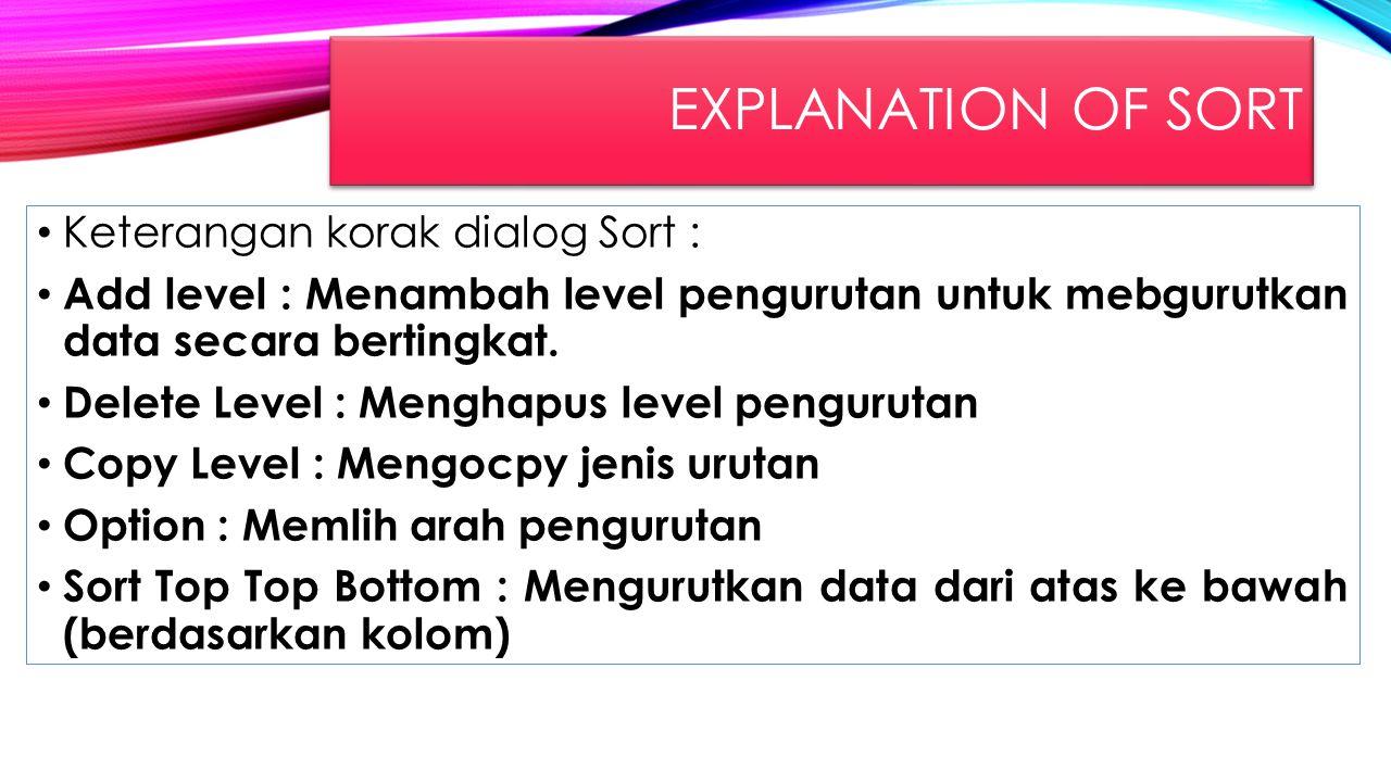 EXPLANATION OF SORT Keterangan korak dialog Sort : Add level : Menambah level pengurutan untuk mebgurutkan data secara bertingkat. Delete Level : Meng