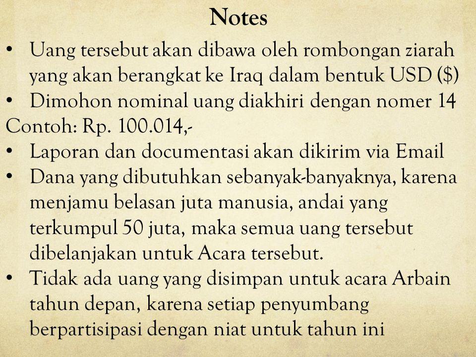 Bagi para Donatur yang akan memberikan sumbangan dapat dilakukan dengan cara sebagai berikut : –Langsung menyerahkan donasi pada Panitia dibawahini: H