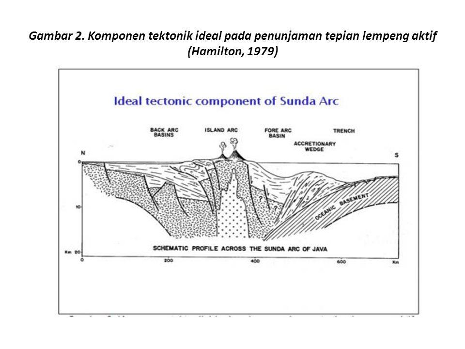 Gambar 2. Komponen tektonik ideal pada penunjaman tepian lempeng aktif (Hamilton, 1979)