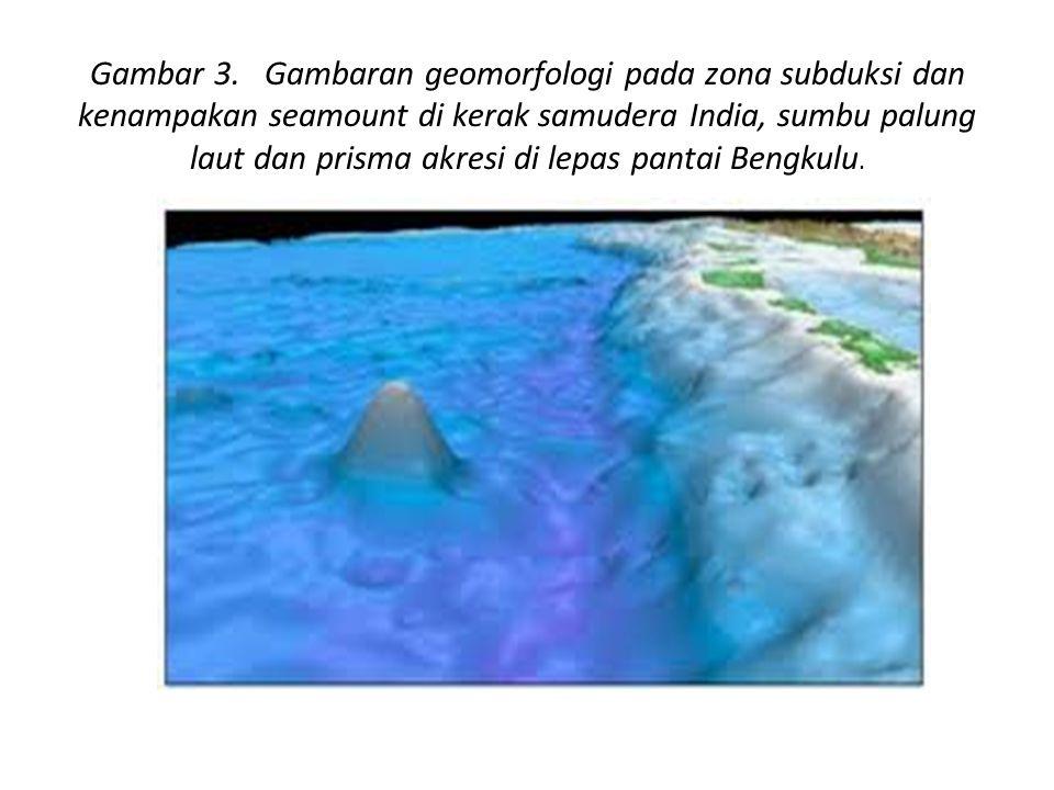 Gambar 3. Gambaran geomorfologi pada zona subduksi dan kenampakan seamount di kerak samudera India, sumbu palung laut dan prisma akresi di lepas panta