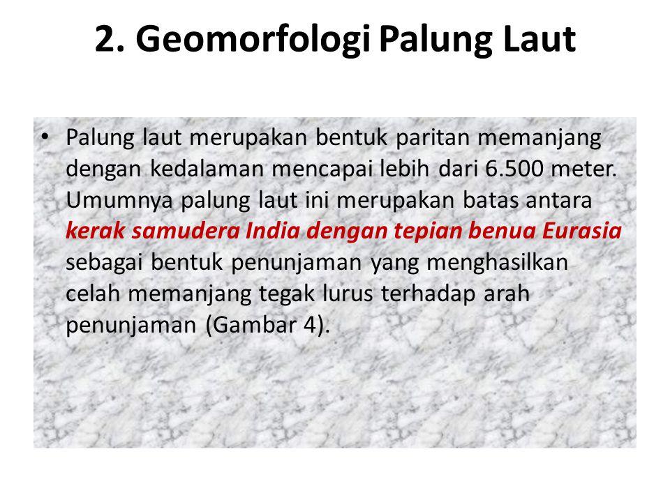 2. Geomorfologi Palung Laut Palung laut merupakan bentuk paritan memanjang dengan kedalaman mencapai lebih dari 6.500 meter. Umumnya palung laut ini m