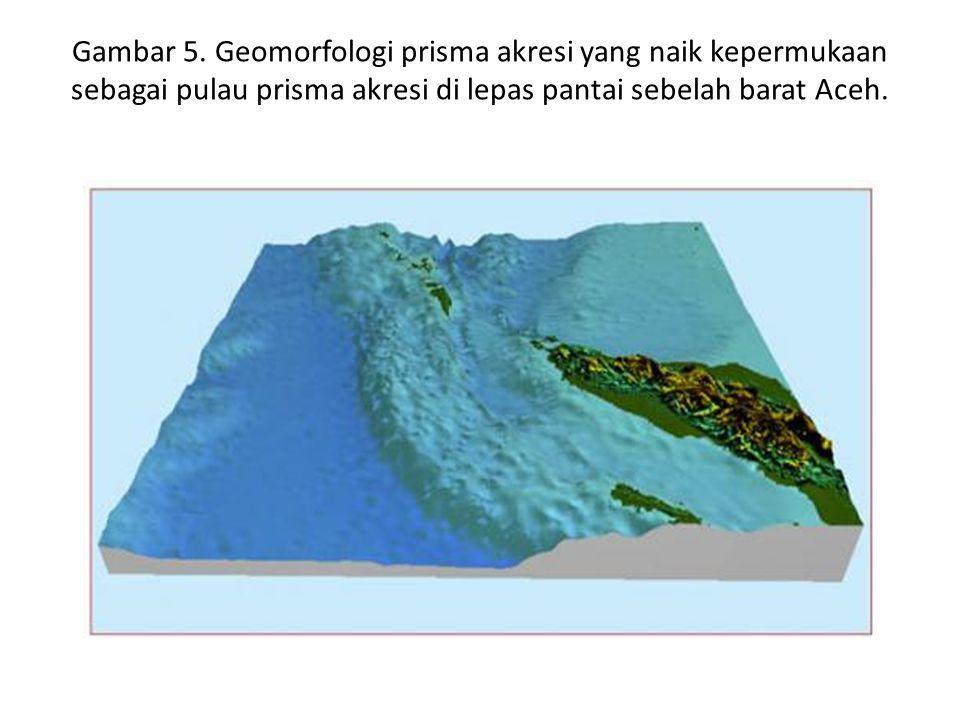 Gambar 5. Geomorfologi prisma akresi yang naik kepermukaan sebagai pulau prisma akresi di lepas pantai sebelah barat Aceh.