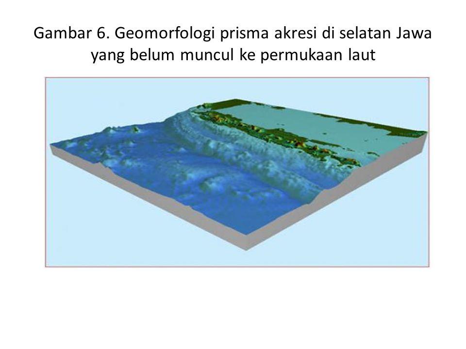 Gambar 6. Geomorfologi prisma akresi di selatan Jawa yang belum muncul ke permukaan laut