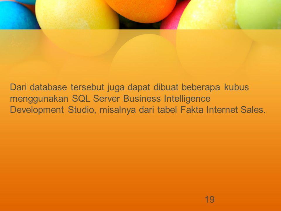 19 Dari database tersebut juga dapat dibuat beberapa kubus menggunakan SQL Server Business Intelligence Development Studio, misalnya dari tabel Fakta Internet Sales.