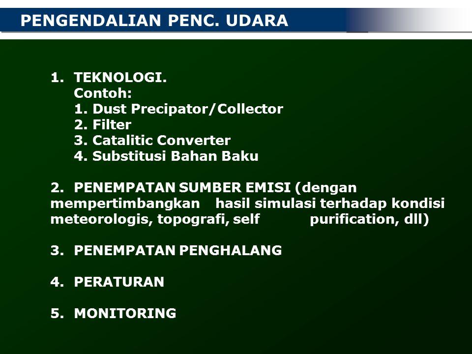 PENGENDALIAN PENC. UDARA 1. TEKNOLOGI. Contoh: 1. Dust Precipator/Collector 2. Filter 3. Catalitic Converter 4. Substitusi Bahan Baku 2. PENEMPATAN SU