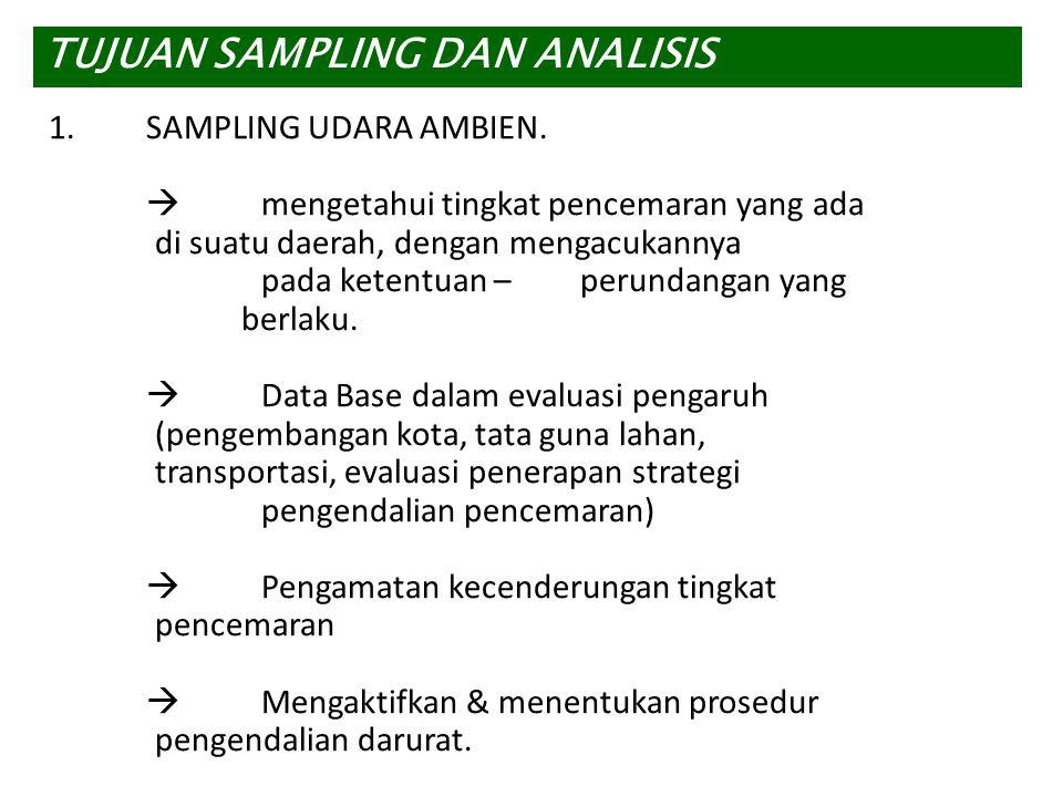 1.SAMPLING UDARA AMBIEN.  mengetahui tingkat pencemaran yang ada di suatu daerah, dengan mengacukannya pada ketentuan –perundangan yang berlaku.  Da