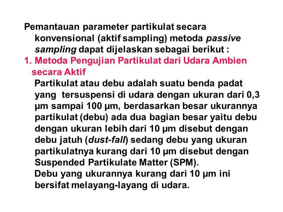 Pemantauan parameter partikulat secara konvensional (aktif sampling) metoda passive sampling dapat dijelaskan sebagai berikut : 1.Metoda Pengujian Par