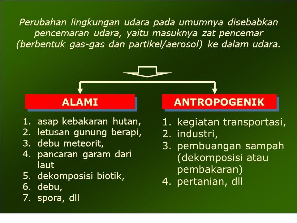 PENCEMAR UDARA PARTIKULAT: PADAT : Debu (Dust), Asap (Smoke), Abu Terbang (Fly ash), Uap asap (Fumes) CAIR : Halimun (Mist), Percikan (Spray) GAS: ORGANIK: Hidrokarbon (hexane, benzene, etilen, metana, butana), Formaldehid, Aseton, Chlorinated Hydrocarbon ANORGANIK: Oksida karbon (CO, CO 2 ), oksida sulfur (SOx), oksida nitrogen (NOx), H 2 S, HF, Ammonia