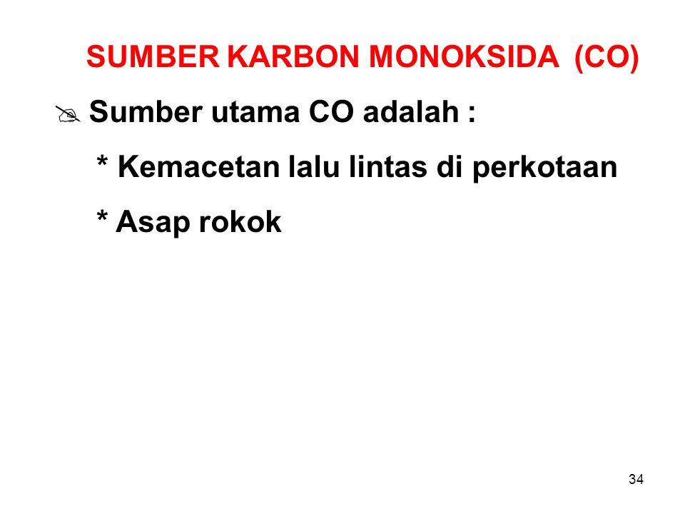 34 SUMBER KARBON MONOKSIDA (CO)  Sumber utama CO adalah : * Kemacetan lalu lintas di perkotaan * Asap rokok