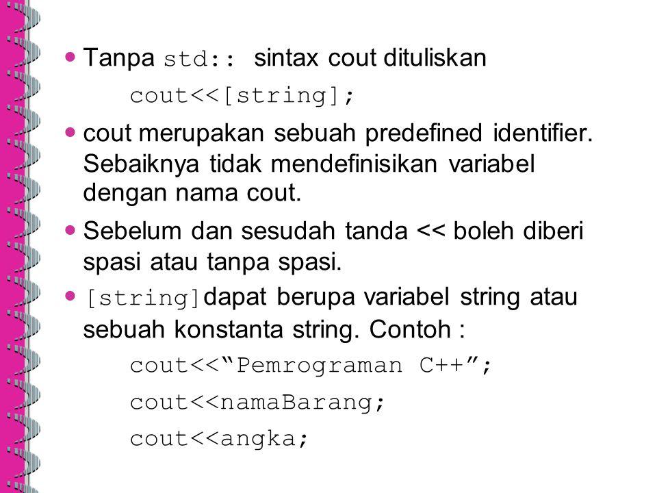 Tanpa std:: sintax cout dituliskan cout<<[string]; cout merupakan sebuah predefined identifier. Sebaiknya tidak mendefinisikan variabel dengan nama co