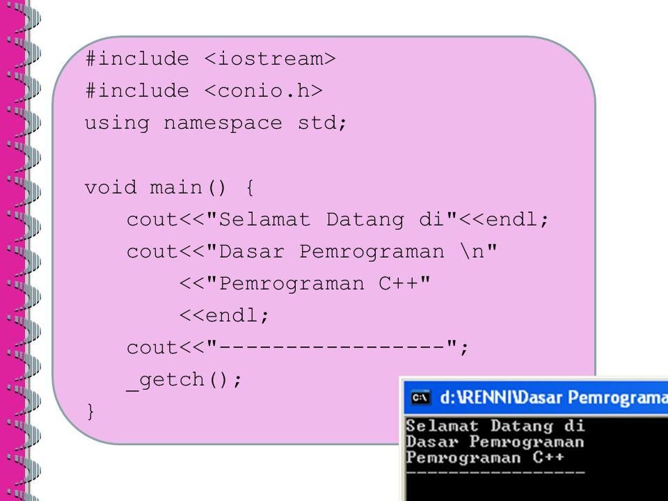 1.Buatlah sebuah program C++ untuk tampilan sebagai berikut :