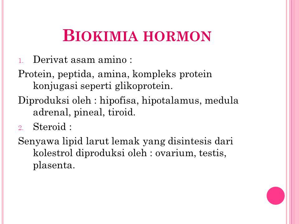 B IOKIMIA HORMON 1. Derivat asam amino : Protein, peptida, amina, kompleks protein konjugasi seperti glikoprotein. Diproduksi oleh : hipofisa, hipotal