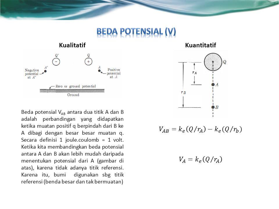 KualitatifKuantitatif Beda potensial V AB antara dua titik A dan B adalah perbandingan yang didapatkan ketika muatan positif q berpindah dari B ke A dibagi dengan besar besar muatan q.