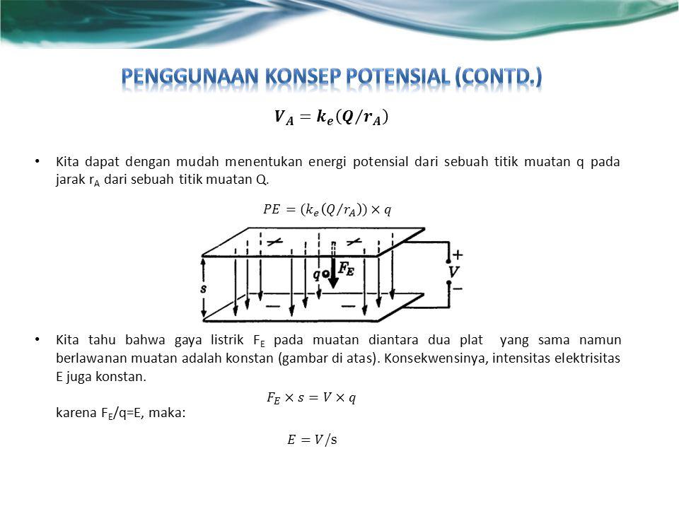 Kita dapat dengan mudah menentukan energi potensial dari sebuah titik muatan q pada jarak r A dari sebuah titik muatan Q.