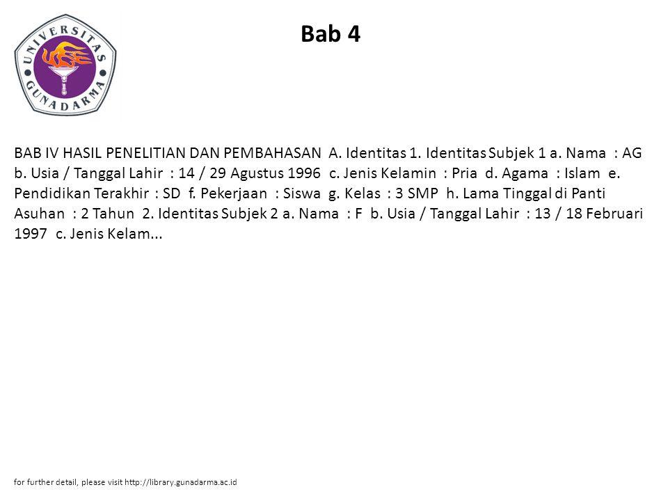 Bab 4 BAB IV HASIL PENELITIAN DAN PEMBAHASAN A. Identitas 1.