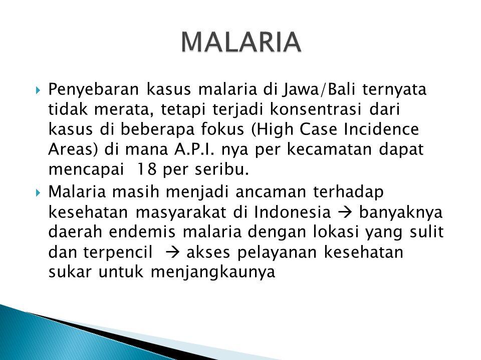  Merupakan penyakit tular vektor yang mengancam daerah tropis dan subtropis  > 1 juta kematian setiap tahunnya  Di Indonesia angka kesakitan malari