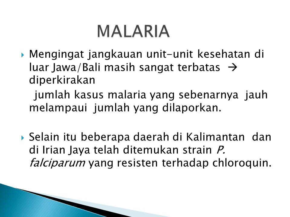  Penyebaran kasus malaria di Jawa/Bali ternyata tidak merata, tetapi terjadi konsentrasi dari kasus di beberapa fokus (High Case Incidence Areas) di