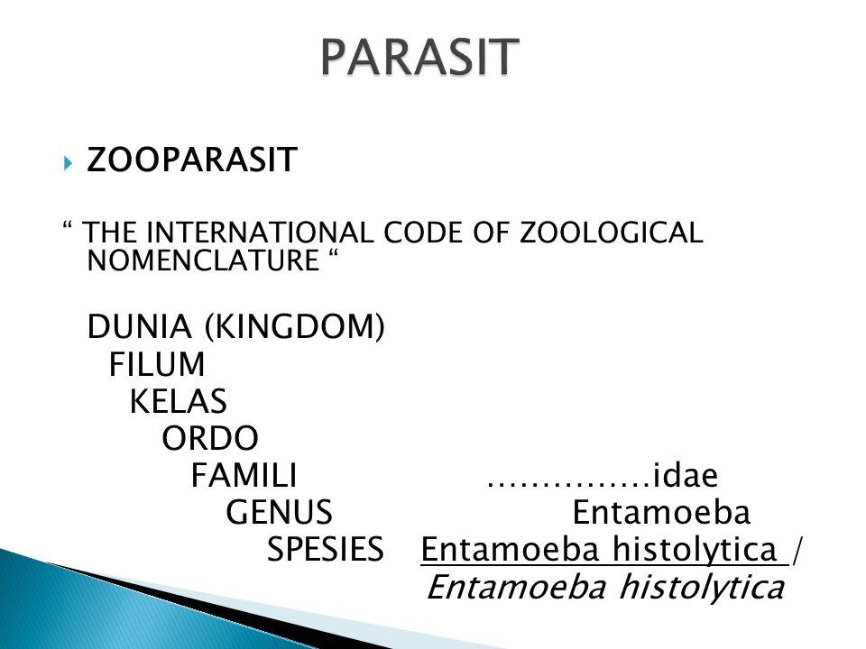 PARASIT ENDO (Infeksi) EKTO (Infestasi) HOSPES DEFINITIF / PRIMER / AKHIR PERANTARA / SEKUNDER RESERVOAR / CADANGAN PARASIT PARASIT OBLIGAT PARASIT FA