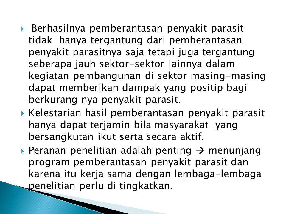  Penyakit parasit di Indonesia masih merupakan masalah kesehatan masyarakat yang penting, terutama bagi rakyat pedesaan dan rakyat yang berpenghasila
