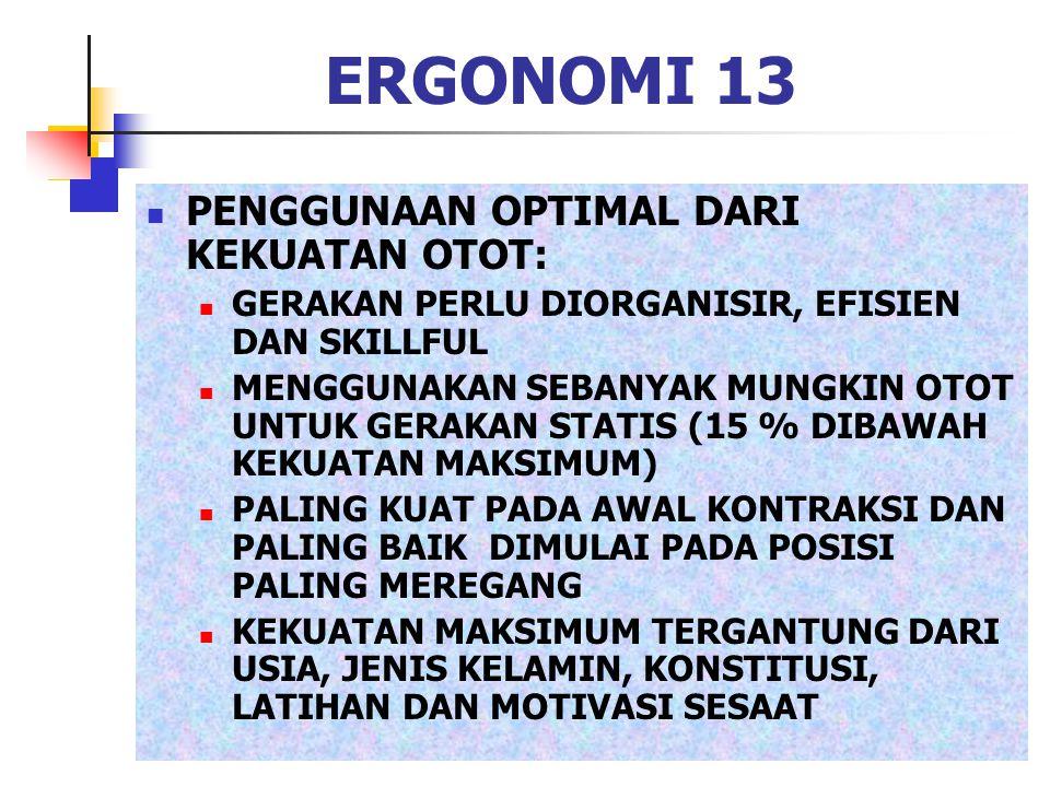 ERGONOMI 13 PENGGUNAAN OPTIMAL DARI KEKUATAN OTOT: GERAKAN PERLU DIORGANISIR, EFISIEN DAN SKILLFUL MENGGUNAKAN SEBANYAK MUNGKIN OTOT UNTUK GERAKAN STA