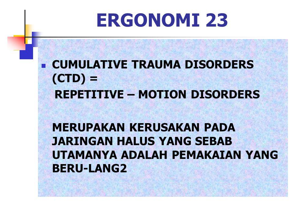 ERGONOMI 23 CUMULATIVE TRAUMA DISORDERS (CTD) = REPETITIVE – MOTION DISORDERS MERUPAKAN KERUSAKAN PADA JARINGAN HALUS YANG SEBAB UTAMANYA ADALAH PEMAK