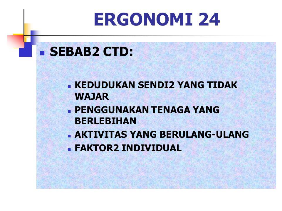 ERGONOMI 24 SEBAB2 CTD: KEDUDUKAN SENDI2 YANG TIDAK WAJAR PENGGUNAKAN TENAGA YANG BERLEBIHAN AKTIVITAS YANG BERULANG-ULANG FAKTOR2 INDIVIDUAL